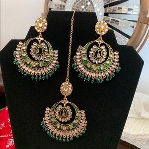 Green earring tikka set